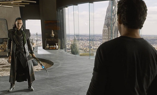 Loki And Tony Stark In The Penthouse With A View Of Chrysler Building