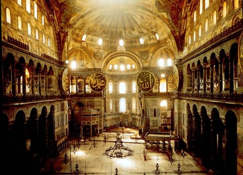 Interior image of the Hagia Sophia.
