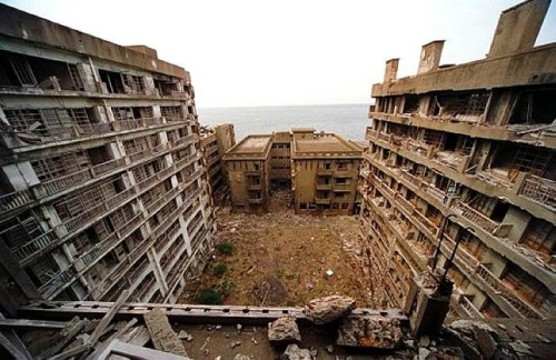 Abandoned island,  Hashima takes on the role of the villain's lair in Skyfall.
