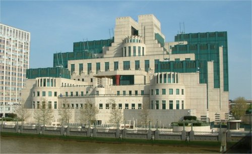 MI6 headquarters, as seen from Vauxhall bridge in London.