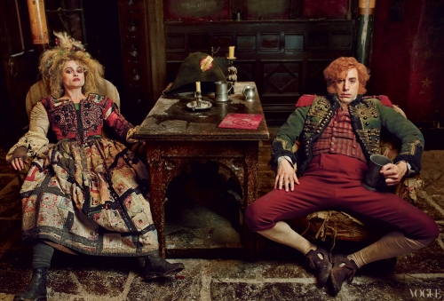 Annie Leibovitz photo, for Vogue, of Helena Bonham Carter and Sasha Baron Cohen as Madame and